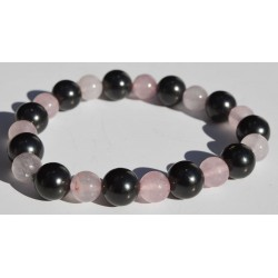 Bracelet Shungite et Quartz Rose